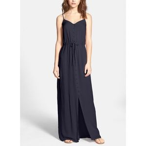 PAIGE Nina Button Front Maxi Dress in Navy Sky